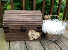 Rustic card box and flower girl basket combo set! Perfect for any southern chic, country or rustic wedding!