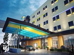 3D View of Commercial Architecture Design | Desirable Gate Designs for commercial Architecture Designs | Gate Design, Hotel Design Architecture, Entrance Gates, Commercial Design, 3d Rendering, Multi Story Building, Exterior, Night, Outdoor Decor