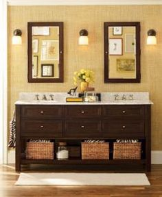 Great double sink, great mirrors, love the lights.  Best part: towel space under.