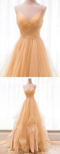 Tulle A Line Prom Dress, Sexy Spaghetti Straps Long Evening Dress, Prom Dresses . Tulle A Line Pro