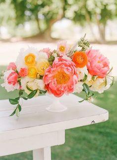 Bright pink peony wedding centerpiece