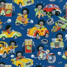 Golliwog Golly Golli Gollywog Doll Motorbikes Cars Quilt Fabric - Find a Fabric. Available to purchase in Fat Quarters, Half Metre, 3/4 Metre, 1 Metre and so on.
