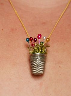 76 Crafts To Make and Sell - Easy DIY Ideas for Cheap Things To Sell on Etsy, Online and for Craft Fairs. Make Money with These Homemade Crafts for Teens, Kids, Christmas, Summer, Mother's Day Gifts. |  Thimble Necklace |  diyjoy.com/crafts-to-make-and-sell