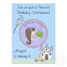 Brunett Princess, Frog and Unicorn Birthday Invite