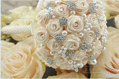 Handmade Custom Ivory Ribbon Artificial Roses Brooch Bridal Bouquet