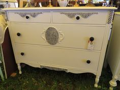 Shabby Chic Black and White Dresser. See more at: facebook.com/lunarosedesigns