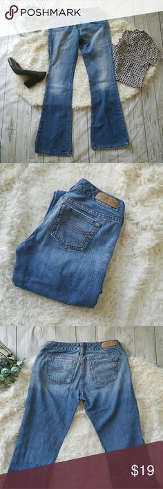 A&F distressed bootcut jeans Light washed Abercrombie jeans. Factory distressing on the pockets and hem (though some fraying on the cuffs may be from wear) 100% cotton. 13.5 inches across the waist, 7 inch rise, 31 inch inseam. Abercrombie & Fitch Jeans Boot Cut