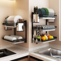Black stainless steel kitchen rack wall hanging dish rack knife chopsticks drain rack punch / paste put bowl storage rack Kitchen Room Design, Home Decor Kitchen, Interior Design Kitchen, Kitchen Furniture, Rustic Kitchen, Kitchen Layout, Kitchen Modern, Minimal Kitchen, Kitchen Tips