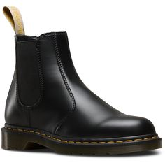 Dr. Martens Vegan Leather 2976 Chelsea Boots ($145) ❤ liked on Polyvore featuring shoes, boots, ankle booties, black, black ankle booties, black faux leather boots, black chelsea ankle boots, equestrian boots and black chelsea boots