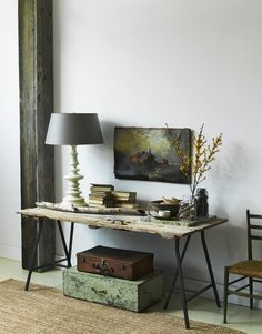 ★ a balanced vignette - colour, textures and placement (I would consider hanging a larger piece of art above the existing one or replace it, as my eye is immediately drawn to the empty white space)