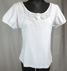 Kim Parrish Collection L White Cotton Lace Eyelet Embroidery SS Top Shirt Blouse #KimParrish #KnitTop