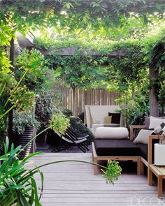 Interior and landscape designer Marcel Wolterinck framed the secluded garden of his home in the suburbs of Amsterdam with a pergola trained with wisteria.