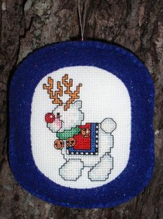 Cross Stitched Christmas Reindeer Ornament with Felt Border by ChoctawRidgeDesigns on Etsy