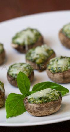 Spinach Souffle Stuffed Mushrooms