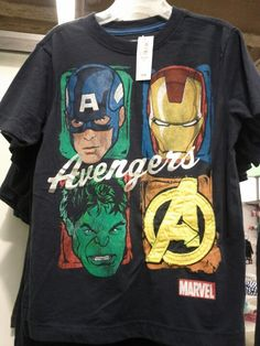 Old Navy Avengers t-shirt for boys. Why don't they make one like this for women? We like comic book characters other than Wonder Woman.