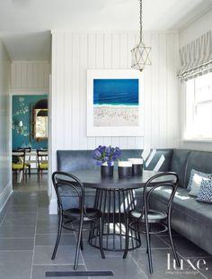 Contemporary White Breakfast Area with Geometric Pendant