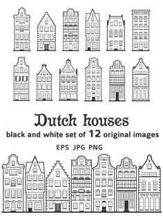 100 Free Coloring Pages for Adults and Children Diy Christmas Decorations Easy, Holiday Crafts, Christmas Crafts, Xmas, House Silhouette, New Year Diy, Amsterdam Houses, Dutch House, Happy Cartoon