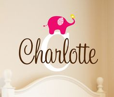Childrens  Name Elephant Wall Decal - Girls Name Vinyl Wall Decal  - Baby Nursery Elephant Wall Art on Etsy, $24.00