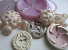 Vintage Buttons  Cottage chic mix of lilacs and by pillowtalkswf, $7.95