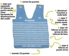 chaleco con cuello en V para niños - knitted vest for kids Baby Clothes Patterns, Sewing Patterns For Kids, Baby Knitting Patterns, Clothing Patterns, Crochet For Boys, Knitting For Kids, Crochet Baby, Knit Vest, Baby Cardigan