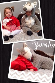 Boy/girl twin costumes for Halloween: little red riding hood and the big bad wolf!  Or peter pan and tinkerbell