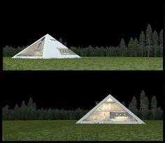 Creative design - the pyramid house of Juan Carlos Ramos Pyramid House, Huge Windows, Creative Design, Outdoor Gear, Facade, Tent, 3d, Night, Bouquets