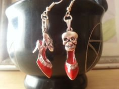 red shoes with skulls earrings by Raddan on Etsy, $10.00 - donating jewelry for raffle at the Frugal Fashionista Clothing Swap https://www.etsy.com/shop/Raddan