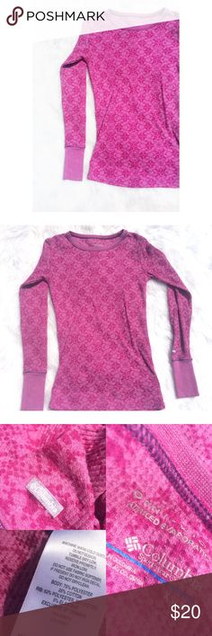 •Columbia• thermal Gorgeously printed thermal by Columbia. Magenta/purple in color. Condition is 9/10: worn twice. No flaws. Fits true to size. Made of cotton& polyester. Reasonable offers made through the offer button are considered. No trades. Columbia Tops Tees - Long Sleeve
