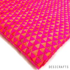 Know your fabric - Hand embroidered Hot Pink Phulkari on Pure Silk Fabric, made in India