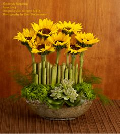 Cut sections of sunflower stems are placed around the upright sunflowers as if on guard. Succulents and trachelium complete the composition. Design by Jim Ganger. Photography by Ron Derhacopian. #orchids#fresh flowers #flowers&magazine