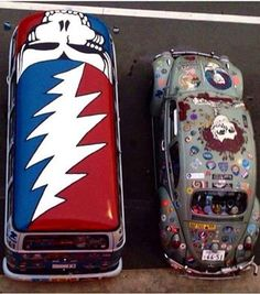 VW Bus Junkies - Classic VW Bus Owners and Fans's photo. #Deadheads everywhere rejoice, those are epic paint jobs ☮ re-pinned by http://www.wfpblogs.com/author/southfloridah2o/