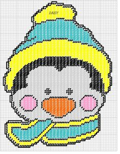 PENGUIN FACE by DAISY*STITCHEMS -- WALL HANGING 2/2