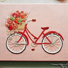 TrueFort has created a set of bicycle embroidery that shows beautiful blooms spilling from baskets. It's like something you'd find in a movie.