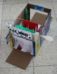 Home made toy carwash made from a cardboard box. My son would love this!