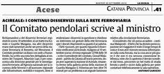 Il Comitato pendolari scrive al ministro. Acireale: i continui disservizi sulla rete ferroviaria | Comitato Pendolari Siciliani