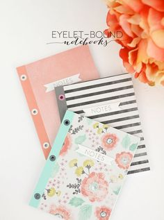 Seriously, when will she run out of ways to make a damn notebook? Not today, people. Not today. You can stitch em, you can glue em, or you can just staple them. Well today we�re adding eyelets to the party using one of my very favorite tools, the Crop-A-D