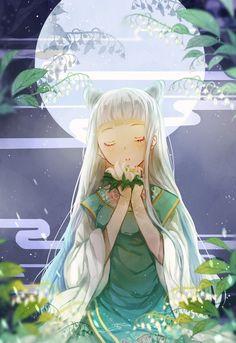 anime girl with moon
