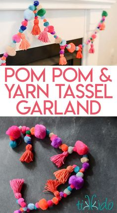 Yarn tassel and pom pom garland tutorial. Inspired by the bright and colorful textiles worn by Peruvian llamas! Perfect party decoration, and can be made to match any theme. pom Crafts Colorful, Playful Pom Pom and Yarn Tassel Garland Tutorial Diy Tassel Garland, Pom Pom Garland, Tassels, Yarn Pom Poms, Party Garland, How To Make Tassle Garland, Crochet Garland, Balloon Garland, Crafts For Teens To Make