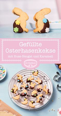 Filled Easter cookies- Gefüllte Osterkekse Filled Easter Bunny Cookies: Crunchy Easter Bunny Cookies with a heart of peanut butter and caramel - Baking Recipes, Cookie Recipes, Dessert Recipes, Cupcake Recipes, Cupcakes, Easter Biscuits, Marshmallow Peeps, Easter Cookies, Easter Recipes