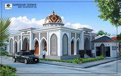SANGGAR TEKNIK | Jasa Desain Arsitektur Murah Mosque Architecture, Indian Architecture, Concept Architecture, Classical Architecture, Architecture Design, Temples, Blue Mosque, Beautiful Mosques, Futuristic City