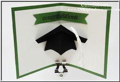Pop-up graduation cap card, Blue Ribbon, Stampin Up, graduation, Connie Babbert