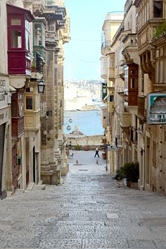 The streets of Valletta at the island of Malta