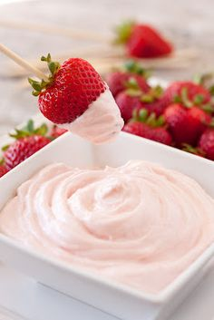 Two Ingredient Fruit Dip (A 60 Second Recipe)  Ingredients    8 oz strawberry cream cheese, at room temperature  7 oz marshmallow creme  Directions    In a medium mixing bowl, using a fork, whisk together strawberry cream cheese and marshmallow cream until well combine. Serve with fruit for dipping (my favorites are strawberries, apple slices, blueberries or diced pineapple.