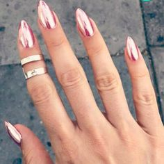 "Pink ""chrome"" nails on Kandee Johnson"
