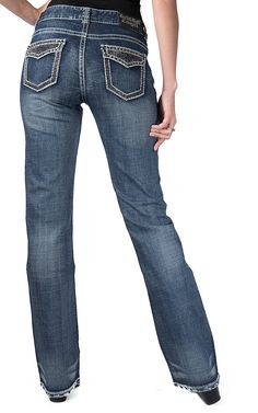 Rock & Roll Cowgirl® Women's Medium Wash with Hematite Stones Faux Flap Pockets Mid Rise Boot Cut Jeans
