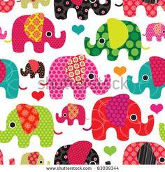 Seamless Retro Elephant Kids Pattern Wallpaper Background In Vector - 83039344 : Shutterstock