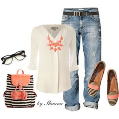 Coral and stripes with boyfriend jeans