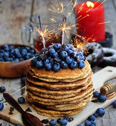 Blueberries and pancakes.