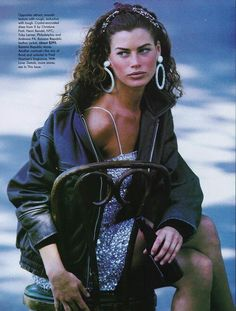 'Dress For Less' from Vogue UK 1990 feat Carre Otis -- glittery minidress