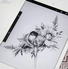 Ideas tattoo flower bird artists for 2019 Bird And Flower Tattoo, Flower Bird, Flower Tattoos, Tattoo Sketches, Tattoo Drawings, Body Art Tattoos, New Tattoos, Tattoo Femeninos, Tattoo Line